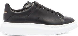 Alexander McQueen Raised Sole Low Top Leather Trainers - Mens - Black