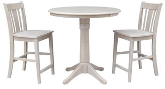 "INC International Concepts 36"" Round Counter Height Table with 12"" Leaf and 2 San Remo Stools - Washed Gray Taupe - 3 Piece Set"
