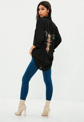 Missguided Black Chiffon Embroidered Shirt