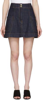 Carven Indigo Denim Miniskirt