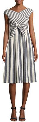 Lafayette 148 New York Cap-Sleeve Striped Tie-Waist Dress, Multi $498 thestylecure.com