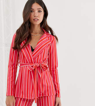 Missguided CO-ORD blazer with tie waist in pink stripe