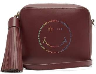 Anya Hindmarch Rainbow Wink Leather Cross Body Bag - Womens - Burgundy Multi