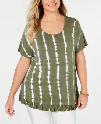 Style&Co. Style & Co Plus Size Tie-Dyed Ruffle-Hem Top