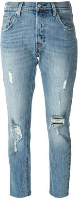 Levi's ripped cropped jeans $125.12 thestylecure.com