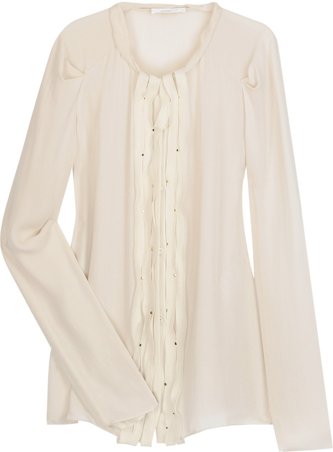Vanessa Bruno Silk pintuck blouse