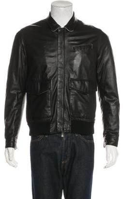 Borrelli Leather Collared Bomber Jacket