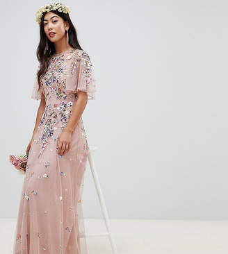 Asos DESIGN Petite floral embroidered dobby mesh flutter sleeve maxi dress