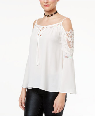 Disney Beauty and the Beast Juniors' Cold-Shoulder Lace-Trim Blouse $44 thestylecure.com