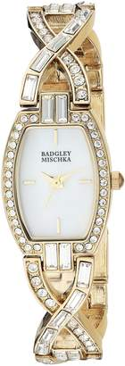 Badgley Mischka Women's BA/1378MPGB Swarovski Crystal Accented -Tone Open Bracelet Watch