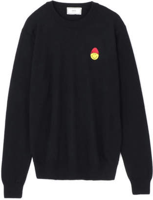 Ami PULL COL ROND PATCH SMILEY