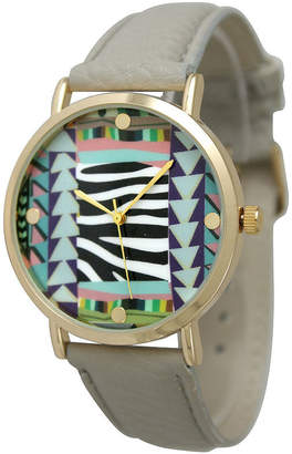 OLIVIA PRATT Olivia Pratt Womens Multi-Color Pattern With Gold-Tone Studs Dial Gray Leather Watch 13628Gray