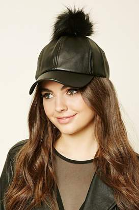 Forever 21 Faux Leather Pom-Pom Cap 078ba90d178b
