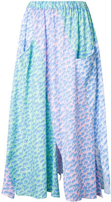 Julien David wave print pleated skirt