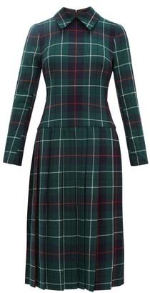 Duncan - Tartan Pleated Wool Twill Dress - Womens - Multi