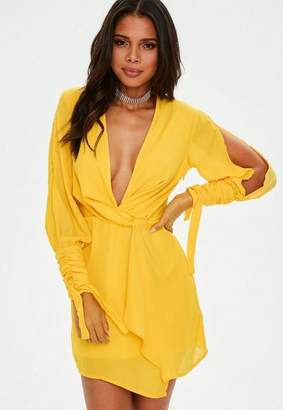 Missguided Yellow Slit Sleeve Knot Front Wrap Dress