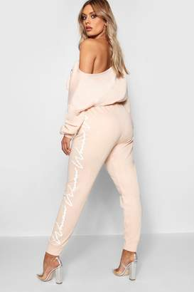 boohoo Woman Slogan Side Detail Jogger