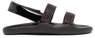 Christopher Kane Crystal Embellished Leather Slingback Sandals - Womens - Black Pink