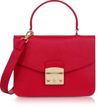 Furla Ruby Red Lizard Printed Leather Metropolis Small Top-Handle Shoulder Bag