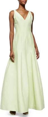 Halston Sleeveless V-Neck Mermaid Gown, Pistachio