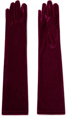 Agnelle Stretch-velvet Gloves - Burgundy