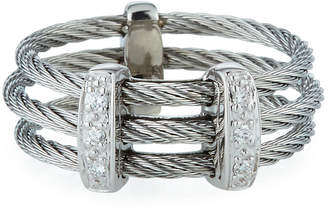 Alor Linear Diamond 3-Row Cable Ring Size 7