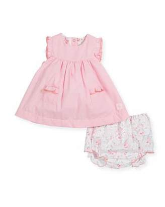 Petit Bateau Ruffle-Sleeves Check Dress w/ Floral Bloomers, Size 1-12 Months