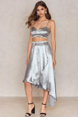 boohoo Wrap Skirt & Bralet Co-ord Silver