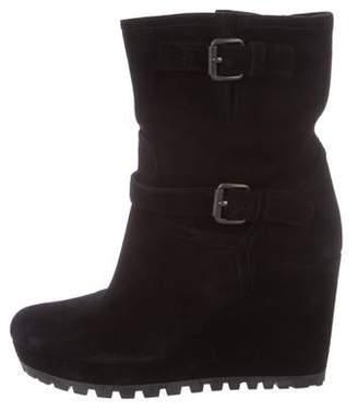 Prada Suede Wedge Mid-Calf Boots