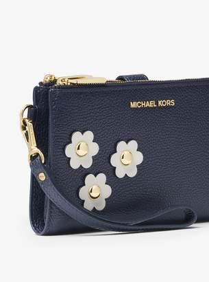 MICHAEL Michael Kors Adele Floral Applique Leather Smartphone Wristlet