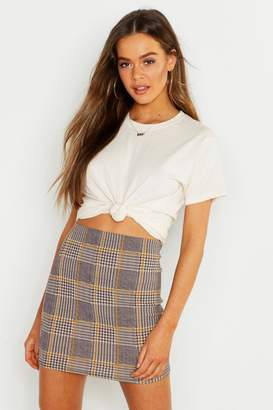 boohoo Crepe Check Mini Skirt