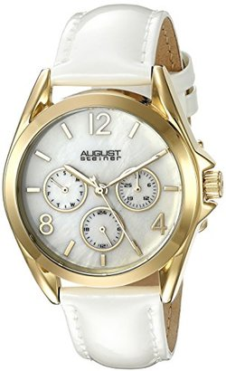 August Steiner Women 's as8191ygwイエローゴールド多機能Crystal Accented Quartz Watch withホワイト母のパールダイヤルとホワイトストラップ