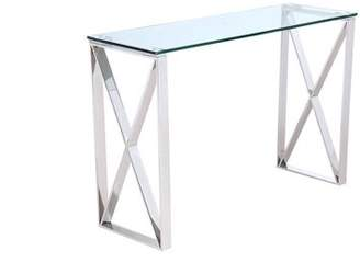 clear Whiteline Modern Imports Brooke Console, glass, stainless steel base