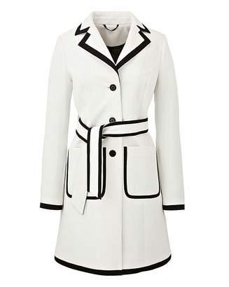 Fashion World Textured Contrast Trim Coat