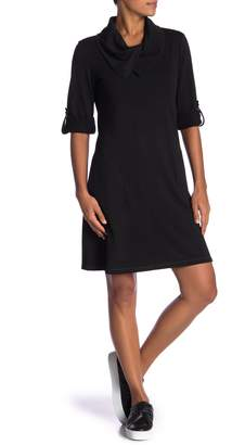Max Studio Rolled Sleeve Cowl Neck Shift Dress