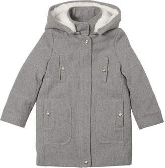 Chloé Padded Wool Twill Coat With Hood