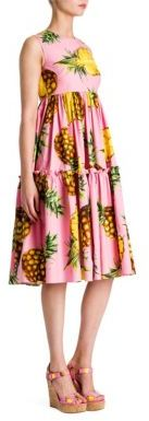 Dolce & Gabbana Cotton Poplin Pineapple Print Tier Dress $1,895 thestylecure.com