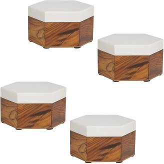 Amalfi by Rangoni Hexagon Box, White (Set of 4)