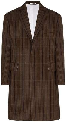 Calvin Klein Check print wool-silk blend coat