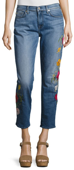 7 For All Mankind7 For All Mankind Rose Garden Embroidered Boyfriend Jeans, Blue