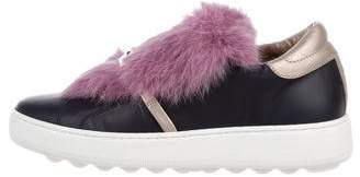 Philippe Model Fur-Trimmed Slip-On Sneakers