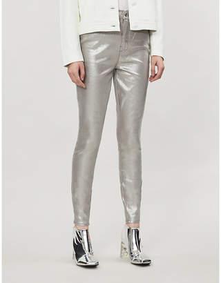 Good American Good Waist metallic stretch-denim jeans