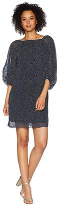 Lauren Ralph Lauren B500 Auburn Spaced Dot Kiki Long Sleeve Day Dress Women's Dress