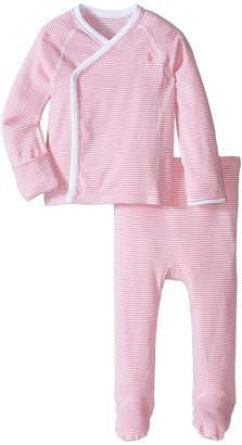 Ralph Lauren Yarn-Dyed Stripe Kimono Two-Piece Pants Set Girl's Active Sets