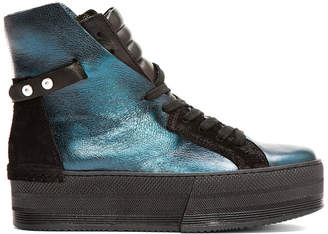 CA by Cinzia Araia Teal Leather High-Rise Platform Sneakers