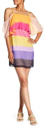 Trina Turk Butterfly Stripe Front Popover Silk Dress