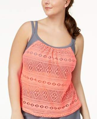 GO by Gossip Plus Size Global Girl Layered-Look Tankini Top, Created for Macy's