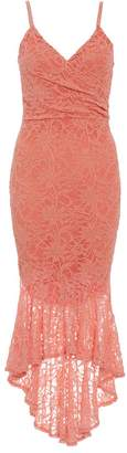 Quiz Coral Glitter Lace Wrap Dip Hem Dress