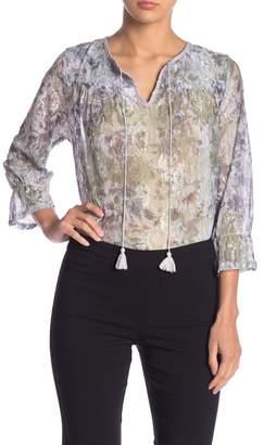 ZAC & RACHEL Printed Lace Split Collar Blouse