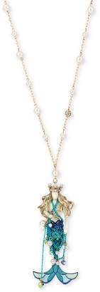 """Betsey Johnson Two-Tone Pave & Imitation Pearl Mermaid Pendant Necklace, 28-1/2"""" + 3"""" extender"""